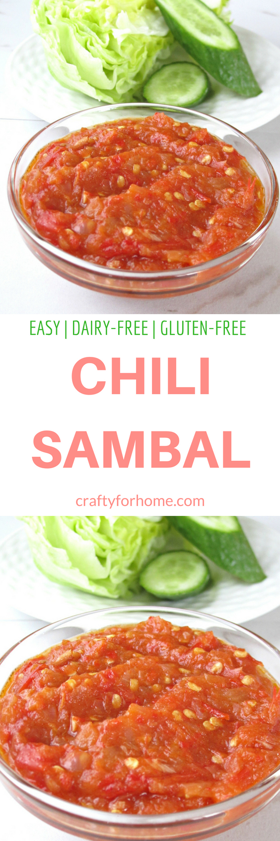 Easy Dairy-free, gluten-free chili sambal, homemade sambal oelek with all simple ingredients to serve it as condiment or dipping sauce #dairyfree #chilisauce #sambaloelek #condiment for full recipe on craftyforhome.com