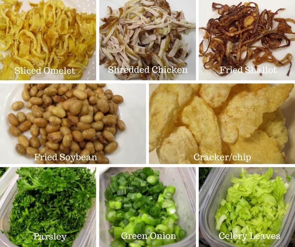 Garnish for Indonesian chicken rice porridge