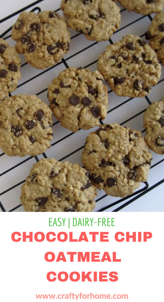 Chocolate Chip Oatmeal Cookies, the classic family favorite cookies, soft and chewy cookies. #chocolatechipcookies #dairyfreecookies #oatmealcookies for full recipe on craftyforhome.com