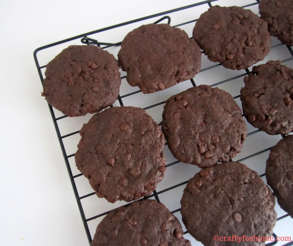 Double Mini Chocolate Chip Cookies, this dairy-free cookie is a family favorite, use the miniature chocolate chips to get the extra chocolate in every bite. #dairyfreecookies #chocolatechipcookies #doublechocolatecookies for full recipe on www.craftyforhome.com
