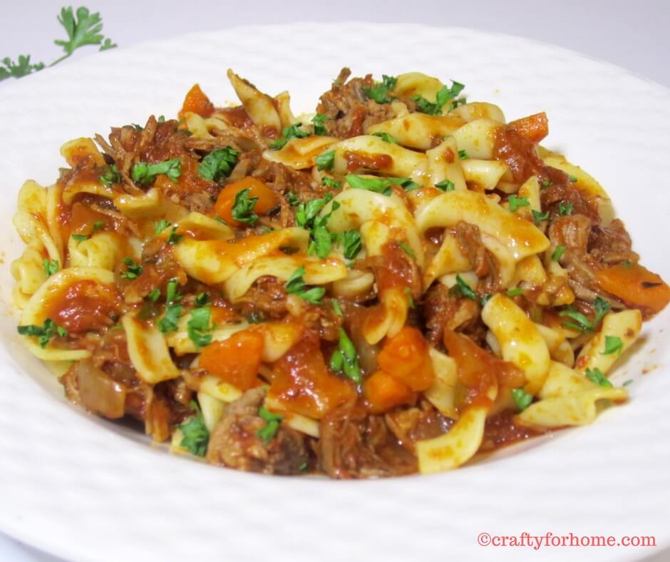 Slow cooked beef ragu with broad pasta
