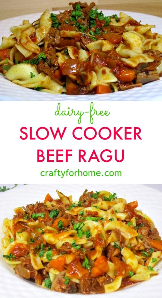 Slow cook ragu with broad noodle