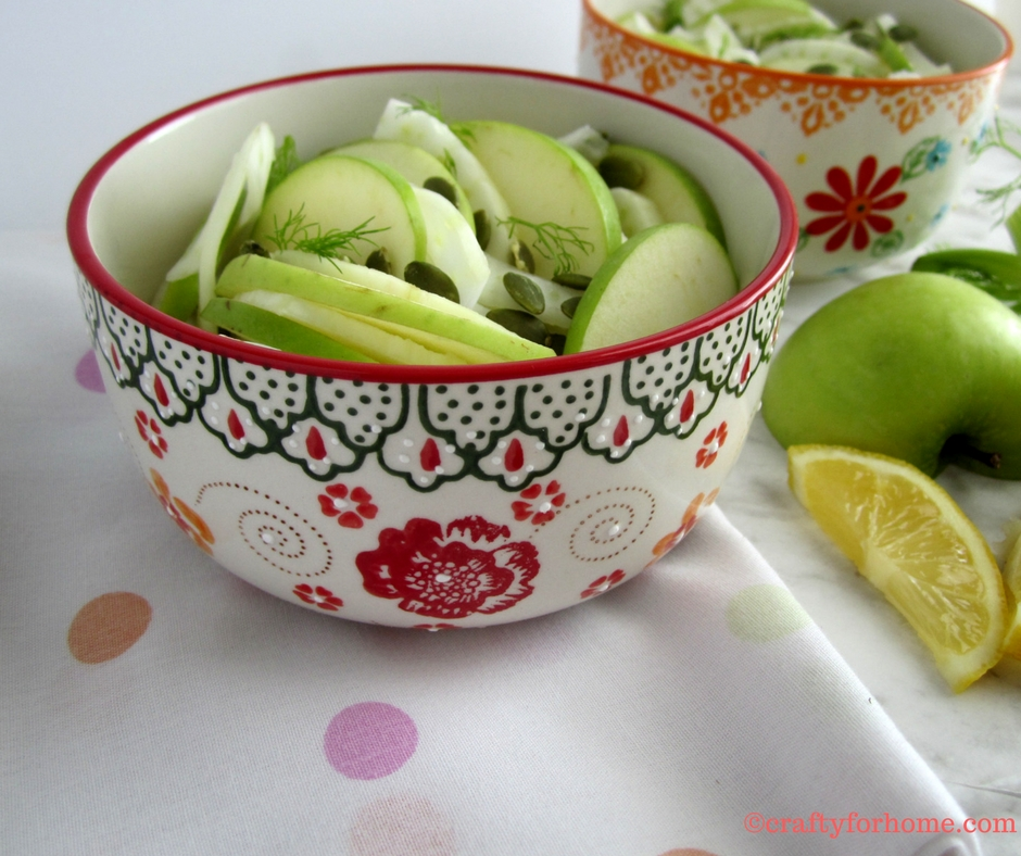 Apple Fennel Salad | This salad is fresh and comforting. If you like fennel, you will know that licorice taste is refreshing. #dairyfree #nutfree #applefennelsalad for full recipe on www.craftyforhome.com.