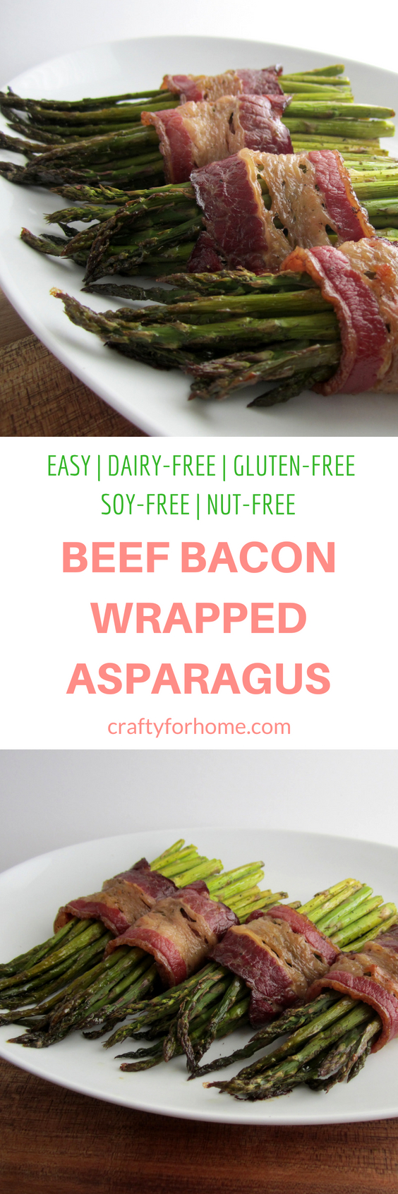 Quick and easy beef bacon wrapped asparagus, cook it in the sheet pan for an easy cleaning #dairyfree #easyrecipes #sheetpan #beefbacon #asparagusrecipes for full recipe on craftyforhome.com