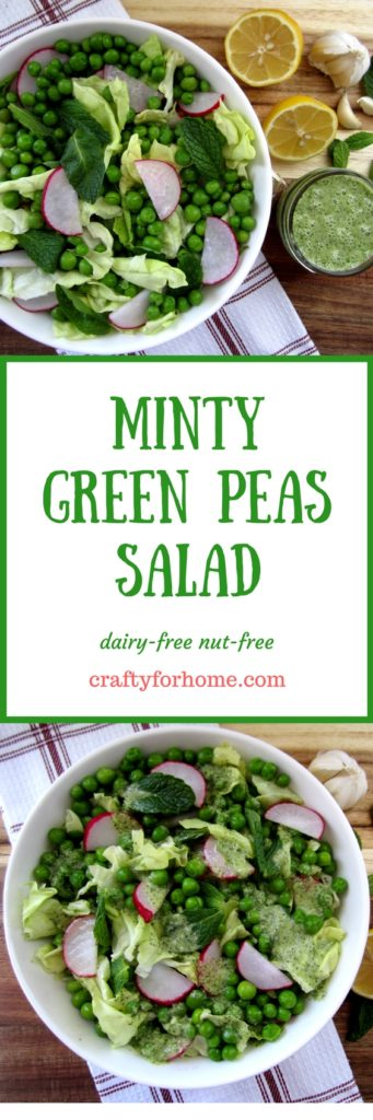 Minty Green Peas Salad, a refreshing salad that is an excellent choice for seasonal eating and clean eating ideas #greenpeassalad #seasonaleating #cleaneating #dairyfreesalad for full recipe on craftyforhome.com