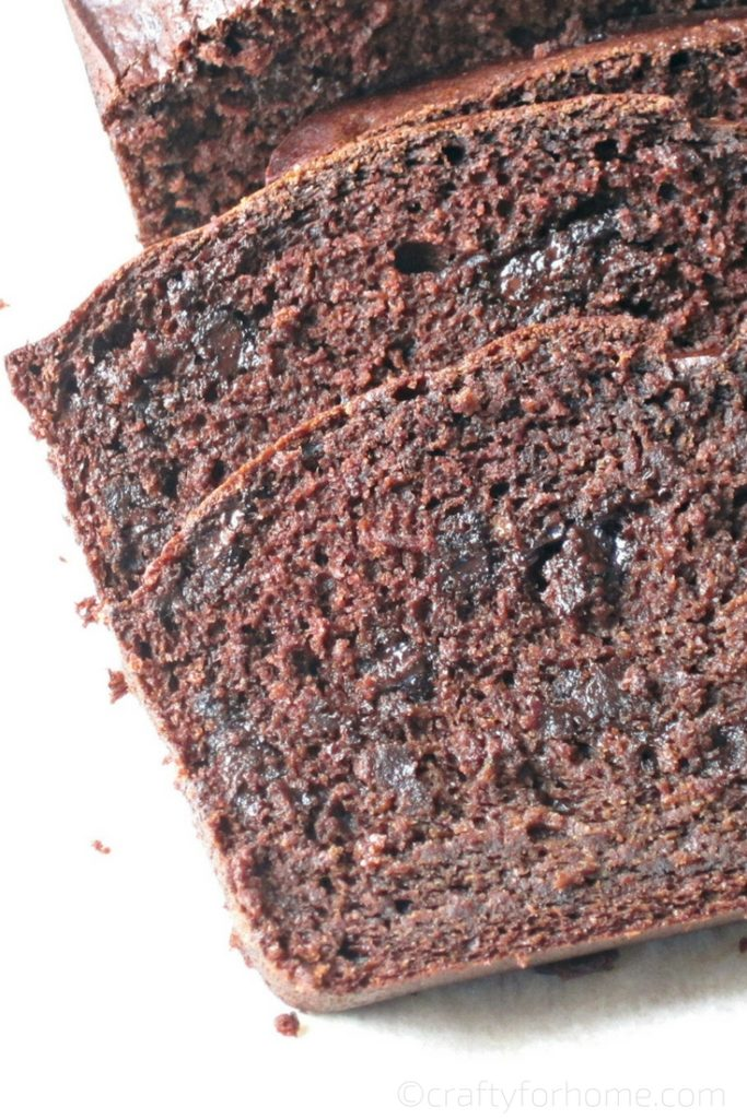 Dairy-free Moist Chocolate Banana Bread recipe for breakfast or snack time #chocolatebread #bananabread #dairyfreebread for full recipe on craftyforhome.com