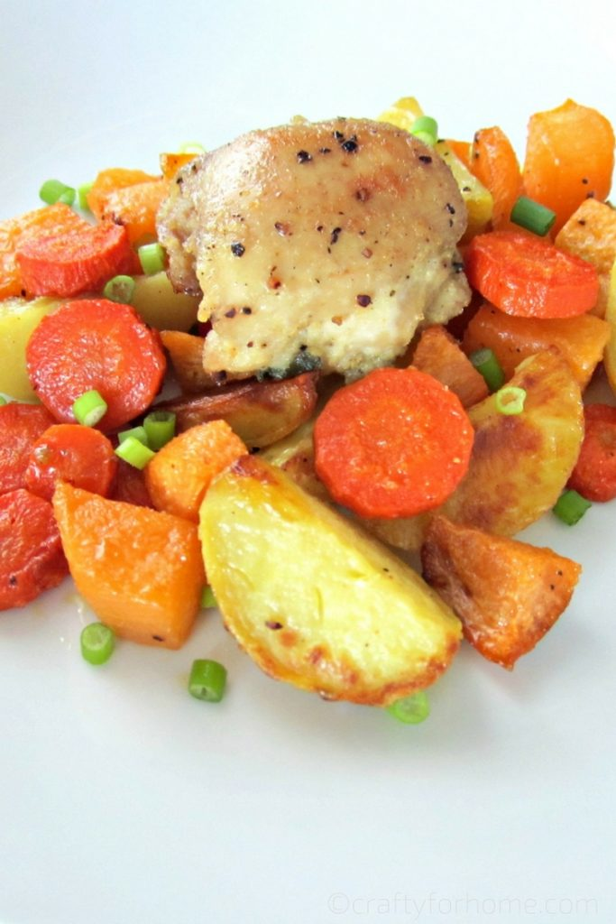 Sheet Pan Chicken Thighs With Root Vegetables