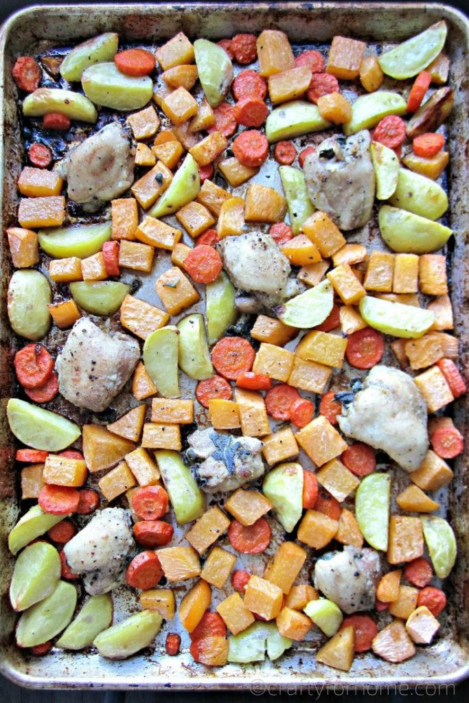 Sheet PAn Roasted Chicken Thighs With Root Vegetables