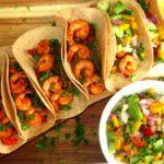 Shrimp Fajita With Mango Salsa #dairyfree #sheetpan #seafoodrecipe for full recipeon craftyforhome.com