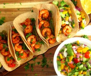 Shrimp Fajita With Mango Salsa #dairyfree #sheetpan #seafoodrecipe for full recipeon craftyforhome.com