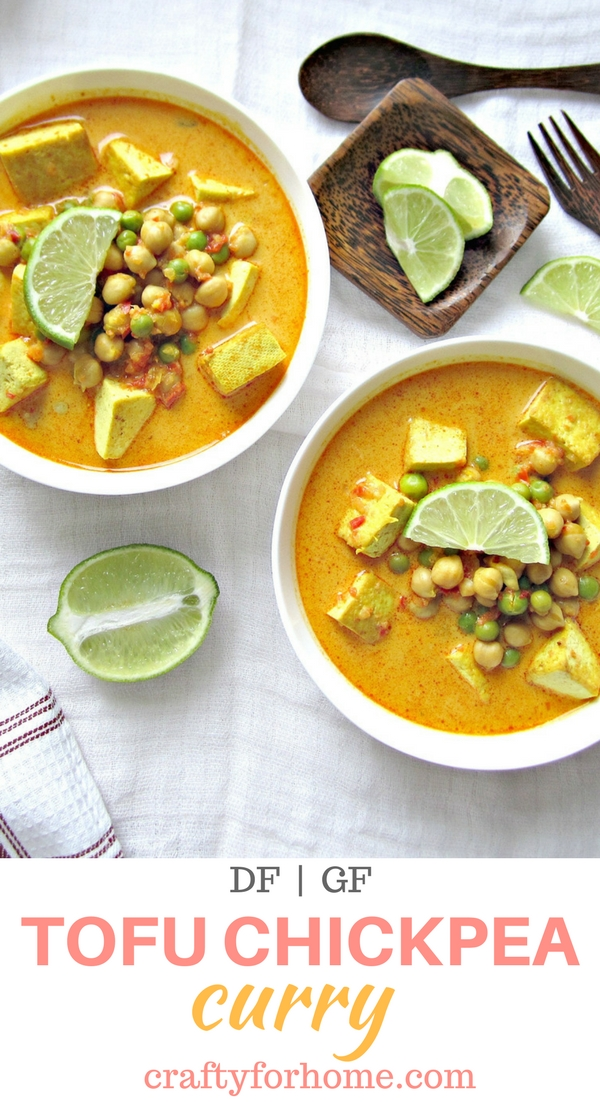 Quick and easy to cook Chickpea Tofu Curry Recipe for gluten free vegan meals ideas #glutenfree #dairyfreesoup #chickpearecipes #tofurecipes for full recipe on craftyforhome.com