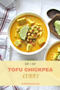 Quick and easy to make Tofu Chickpea Curry recipes for gluten free vegetarian meal ideas #glutenfree #vegetariansoup #tofurecipes #chickpearecipes for full recipe on craftyforhome.com