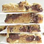 Chocolate Chunk Cookie Bars | Easy recipe for how to make chocolate chunk cookie bars. These cookie bars rich chunk of semi-sweet chocolate that has the perfect balance of sweet and quick baking cookie bars to feed the crowd. Soft, chewy, decadent, dairy-free, nut-free.