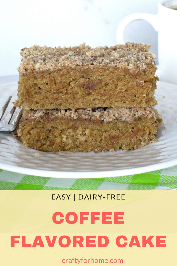 Easy dairy-free Coffee Flavored Sheet Cake recipe with brown sugar streusel topping for dessert, breakfast or enjoy it with a cup of coffee for afternoon snack #coffeecake #sheetcake #dairyfreecake for full recipe on craftyforhome.com
