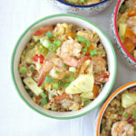Easy Shrimp Pineapple Fried Rice recipe for dairy-free and gluten-free lunch ideas or meal prep ideas #dairyfree #glutenfree #mealprep #seafood for full recipe on craftyforhome.com