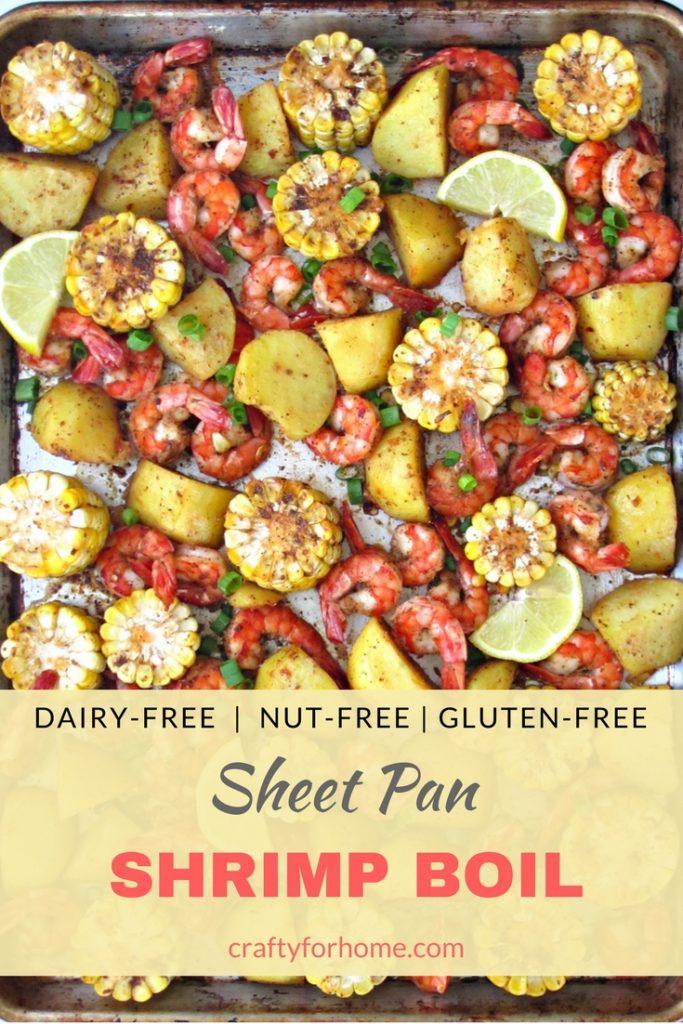 Sheet Pan Shrimp Boil Recipe, bake shrimp boil with homemade seasoning mix in oven, perfect for summer dinner party, recipe at craftyforhome.com #shrimpboil #sheetpan #mealprep