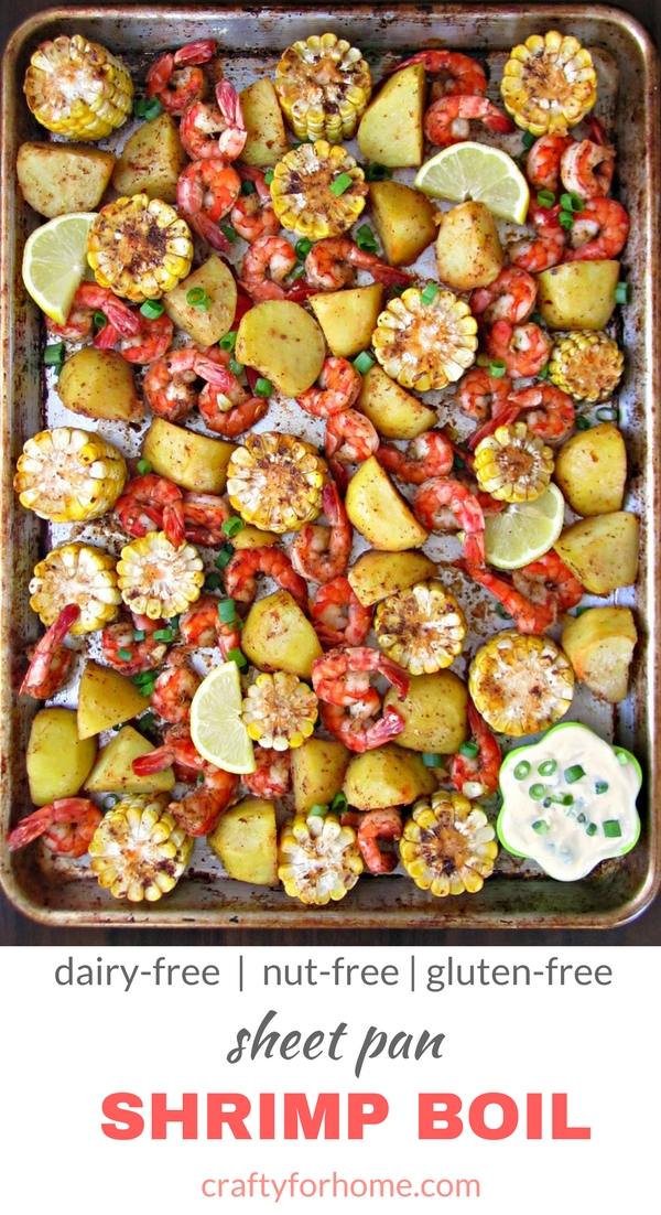 Healthy Sheet Pan Shrimp Boil, oven baked shrimp boil with homemade seasoning mix perfect for the crowd summer dinner party #shrimpboil #sheetpan #mealprep, recipe on craftyforhome.com