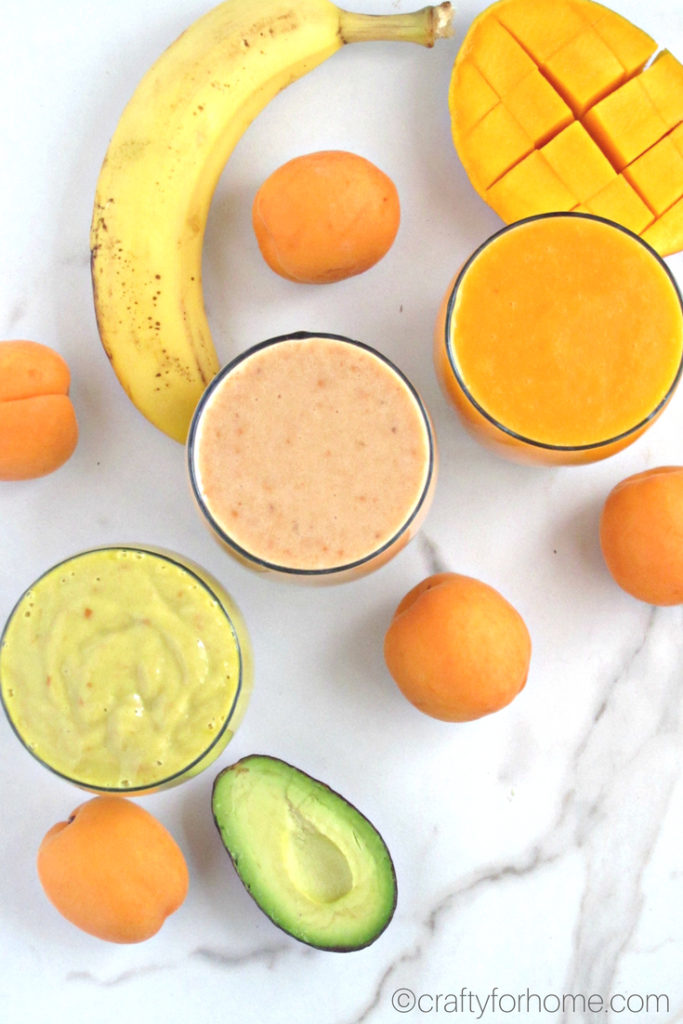 Quick, easy and healthy three different apricot smoothies recipes with only three ingredients you can make in the busy morning or anytime you want a fresh drink throughout the day. This smoothie is fresh #dairyfree #glutenfree #nutfree #vegan #apricotsmoothies. For full recipe on craftyforhome.com