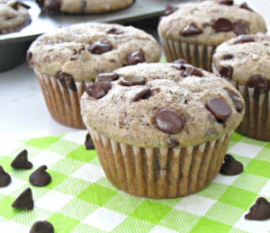 Easy chocolate chip muffins without egg. Use the milled flax seed to substitute the egg. Dairy-free, nut-free, egg-free.