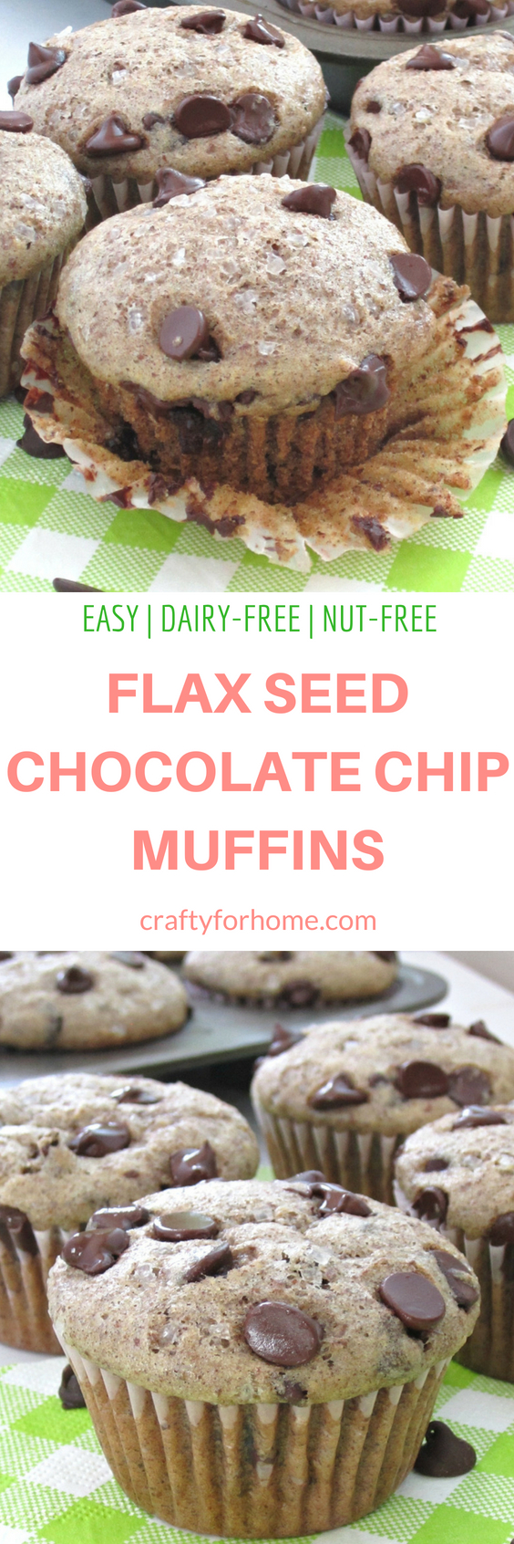 Easy chocolate chip muffins without egg. Use the milled flax seed to substitute the egg. #dairyfreemuffins #nutfreemuffins #flaxseedmuffins for full recipe on craftyforhome.com