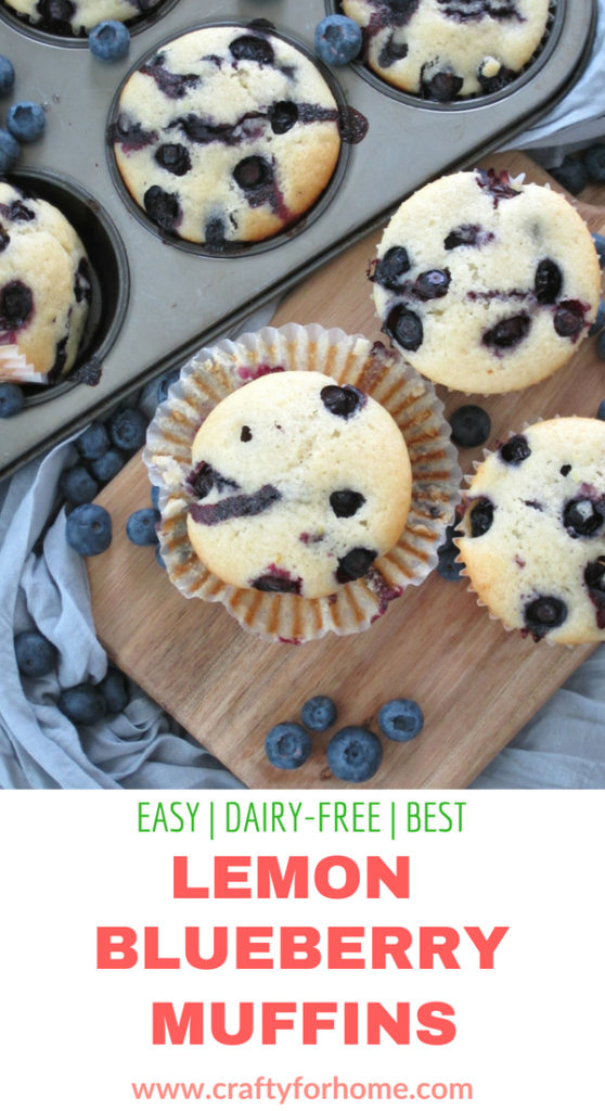 This is the best and moist dairy-free lemon blueberry muffins recipe that easy to make, perfect for breakfast, lunch box or snack times. #dairy-free #dairyfreemuffins #blueberrymuffins for full recipe on www.craftyforhome.com