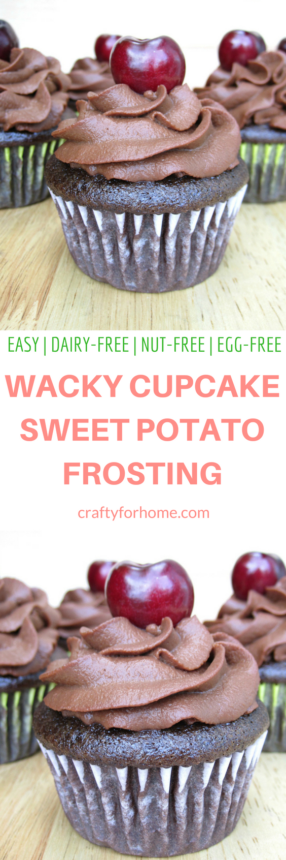 One bowl dairy-free chocolate wacky cupcake with easy sweet potato frosting. The cake is made without egg and dairy. It is moist and delicious dark chocolate cake. Dairy-free, egg-free, nut-free. #wackycake #sweetpotatofrosting #dairyfreecupcake #egglesscupcake for full recipe on craftyforhome.com