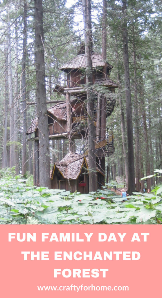 Take the family and friends to visit the Enchanted Forest in Revelstoke, British Columbia. You will see all enchanting figurines from the fairy tale stories and lots of beautiful miniature houses and treehouses that you wish to have it in the backyard. For more stories on www.craftyforhome.com #travel #visitbritishcolumbia #treehouse #fairyhouse #miniaturehouse #enchantedforest #revelstoke #familyadventure #travelwithfamily