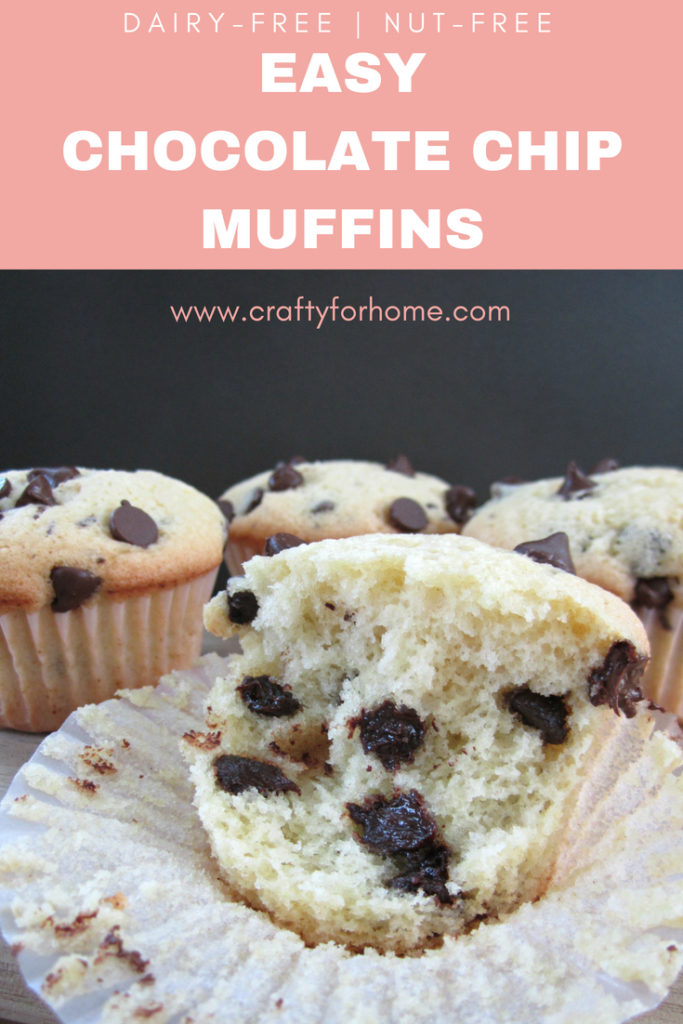 Easy Chocolate Chip Muffins, this chocolate chip muffin recipe is dairy-free, quick and easy without butter perfect for snack or breakfast. It is a soft muffin with the crusty on top. #chocolatechipmuffins #dairyfreemuffins #easychocolatechipmuffins #quickmuffins get the recipe on www.craftyforhome.com