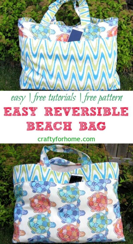 Easy Reversible Beach Bag | A DIY and easy to follow tutorials on how to sew oversized reversible beach bag and has pockets with the zipper, it will fit several large beach towels and all the necessities you need for summer fun at the beach or water park with family and friends. #DIYbag #easytotepattern #sewingbag #sewingproject #bagpattern #sewingtutorials #sewingforkids #craftforkids #sewingtips #freebagpattern #sewingforsummer for details on https://craftyforhome.com