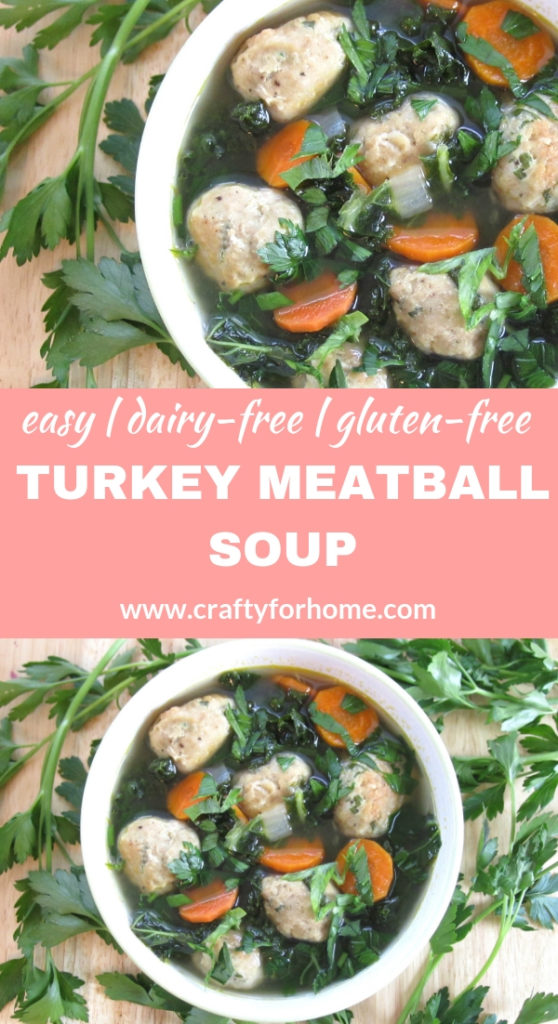 Turkey Meatball Soup. An easy and hearty soup recipe for weekday meals or anytime you want for a quick supper, perfect for fall or winter meal ideas. Dairy-free, gluten-free, grain-free, clean eating. #dairyfree #dairyfreesoup #cleaneating #turkeysoup #meatballsoup for full recipe on www.craftyforhome.com