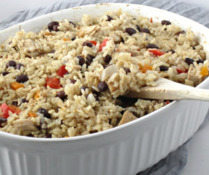Baked Rice With Leftover Turkey | This leftover turkey recipe is easy to make, baked it together with brown rice and all simple ingredients from the pantry, perfect for a healthy, dairy-free and gluten-free meal for the whole family.
