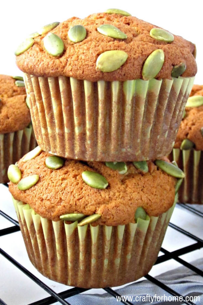 Easy Dairy-Free Pumpkin Muffins | Moist and easy homemade dairy-free pumpkin muffins recipe top it up with pumpkin seeds, perfect for fall season treat for whole family and friends. #dairyfreemuffins #pumpkinmuffins #easypumpkinmuffins for full recipe on www.craftyforhome.com