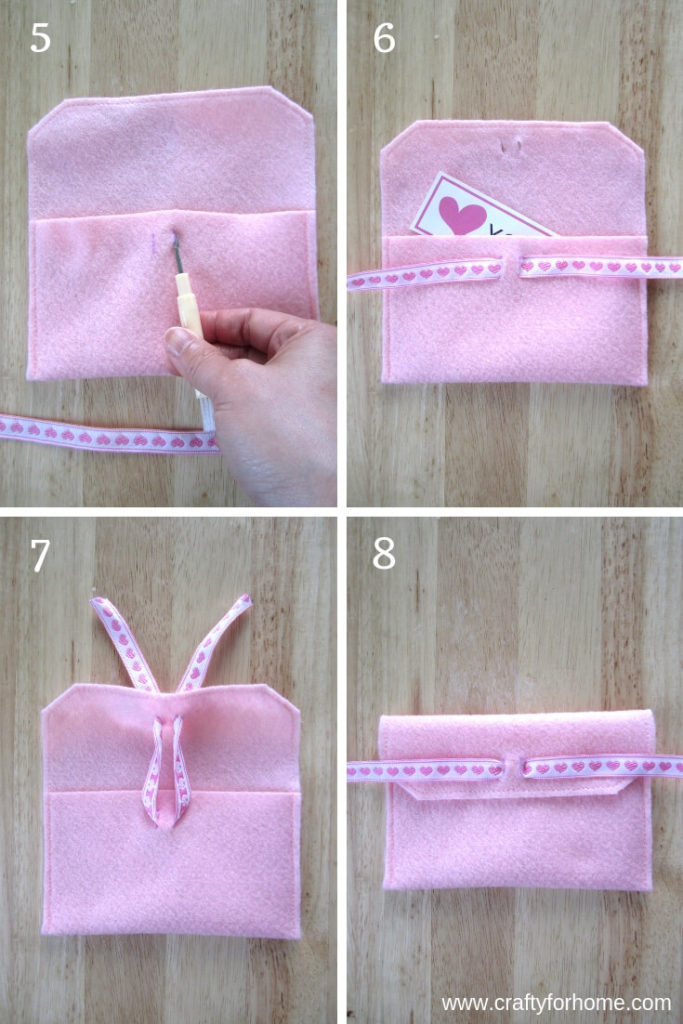 Easy Felt Envelope| This DIY felt envelope tutorials is a fun craft project you can do with kids and teens, perfect for a handmade gift card holder or sweet treats for family and friends. #feltenvelope #feltvalentineenvelope #feltcrafts #craftforkids #easyfeltcafts #fabricenvelope #DIYfeltenvelope #handmadefeltenvelope #ribboncrafts for full tutorials on www.craftyforhome.com