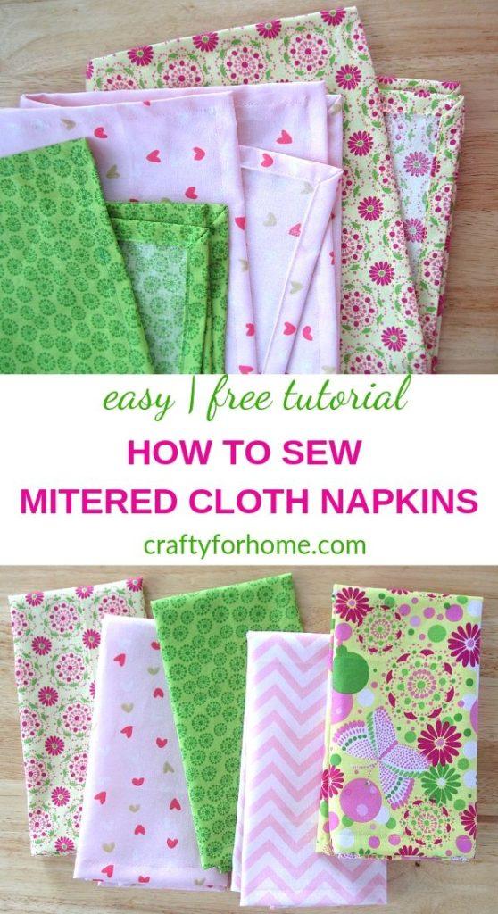 Handmade Mitered Cloth Napkins