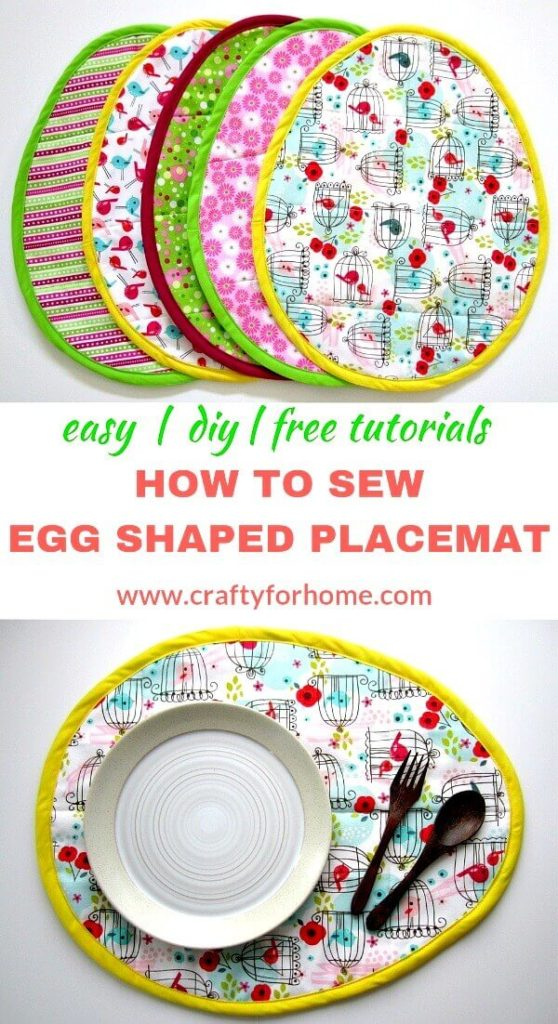 How To Sew Easter Egg Placemat | These Easter egg placemat tutorials are easy to follow and fun to do for Easter sewing project ideas, and you can do it in one afternoon. #eastereggplacemat #eastereggplacematpattern #eastersewingproject #fatquartercrafts #sewingcraftforkids #springseasonproject #ovalplacemattutorials #easyquiltproject #eastercraft #easterdecoration for full tutorials on www.craftyforhome.com