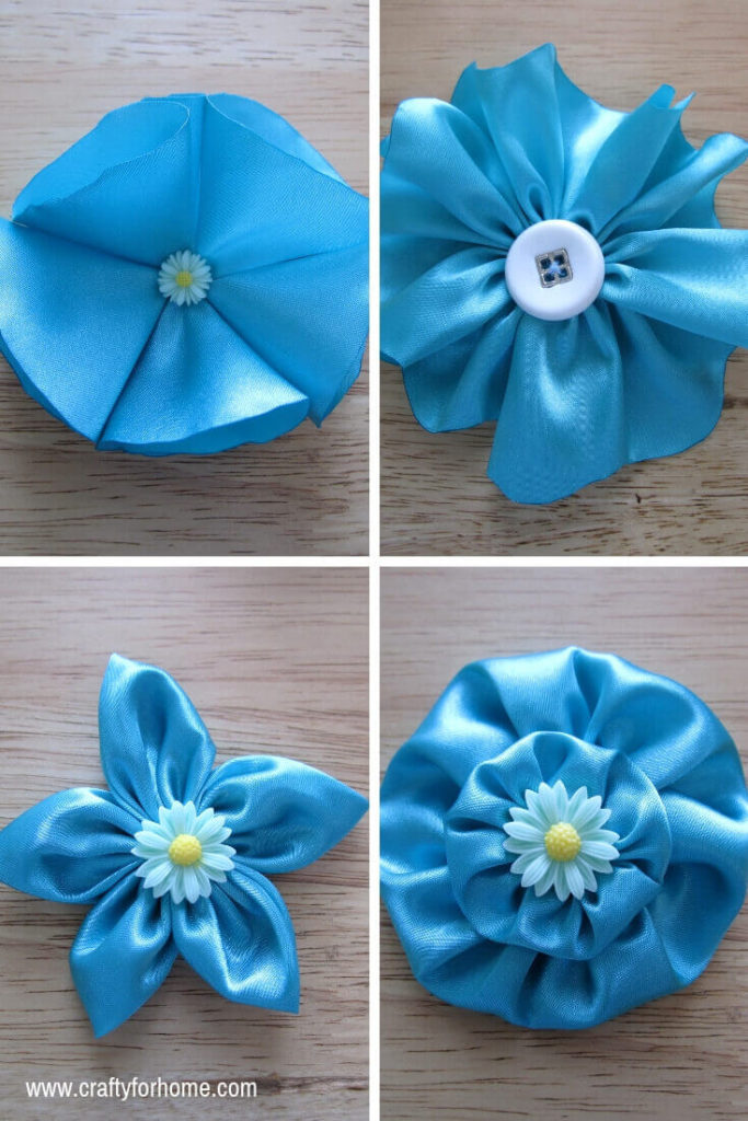 4 Easy Ways To Make Fabric Flower | Learn how easy to make four different fabric flowers, and you can use it for any crafts around the house, embellish the cloth, gift wrapping, hair accessories, also craft for sale. #fabricflowers #easytutorials #fabricflowertutorials #easycraftforkids #easycraftforteens for full tutorials on www.craftyforhome.com