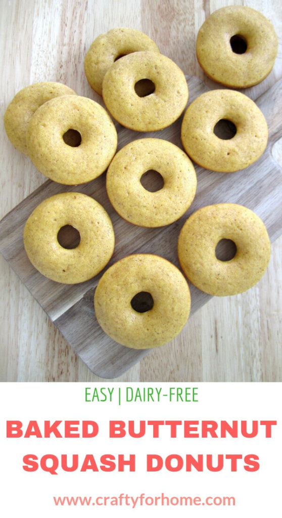 Baked Butternut Squash Donuts | This easy baked butternut squash donuts recipe is easy, fun, and delicious for a snack or on-the-go breakfast. The butternut squash donuts are baked instead of fried, delicious, and perfect for fall season friendly meal. Dairy-free, nut-free. #easydonuts #bakeddonutrecipes #butternutsquashdonuts #butternutsquashrecipes #dairyfreedonuts #nofrieddonuts #fallseasonsnack for full recipe on www.craftyforhome.com