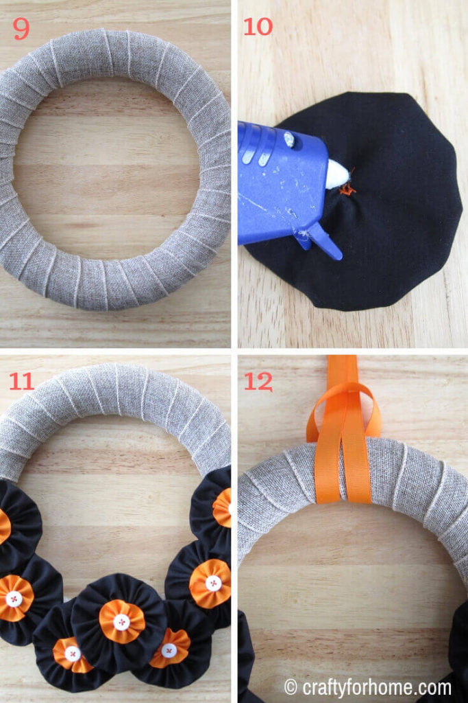 Easy Fabric Flower Fall Wreath | Easy DIY fabric flower fall wreath tutorial for the front door or wall using dollar store's supplies, handmade fabric flower, and basic stitching.#fallwreath #fallseasoncraft #DIYfallwreath #fabricflowers #ribboncrafts #DIYhomedecor #burlapcrafts for full tutorials on https://craftyforhome.com