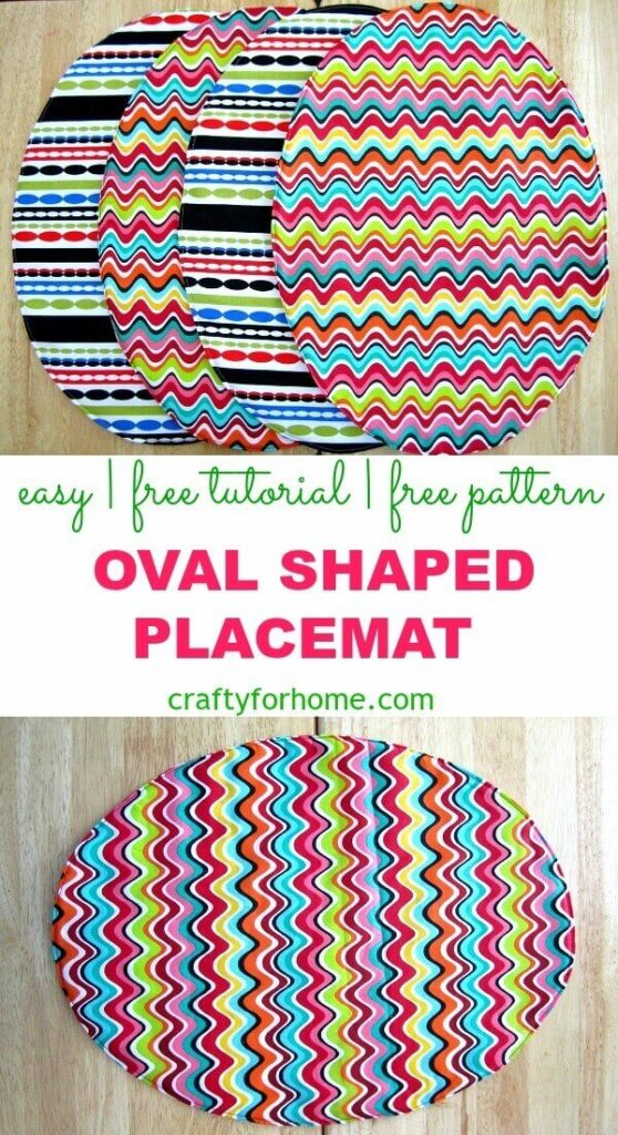 Oval Shaped Placemat Tutorial | Get your free oval-shaped placemat pattern for this 10 minutes easy sewing project as your next DIY home decor. #ovalplacemats #sewingforkitchen #eastersewingprojects #craftforkids #placemattutorials #fatquartercrafts #sewingplacemats for full tutorial on Crafty For Home