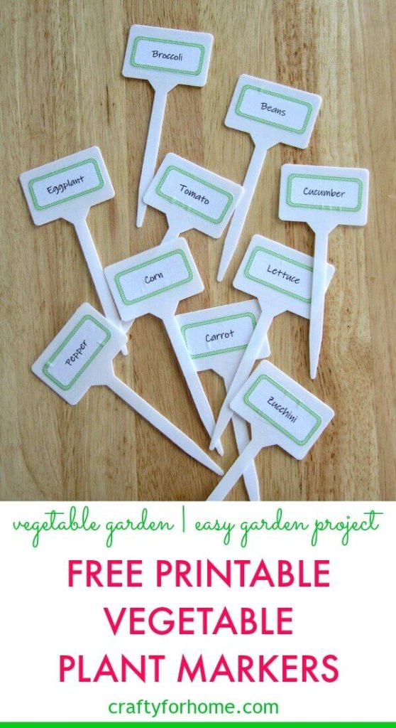Free Printable Vegetable Plant Markers | Make your plant markers for your vegetable garden with this free printable. An easy DIY garden project you can do with kids #freeprintable #gardenprojectideas #DIYgardenprojects #gardenideas #vegetablegarden #DIYgardenmarkers #DIYplantlabels get your plant markers printable on Crafty For Home.