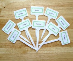 Free Printable Vegetable Plant Markers | Make your plant markers for your vegetable garden with this free printable. An easy DIY garden project you can do with kids