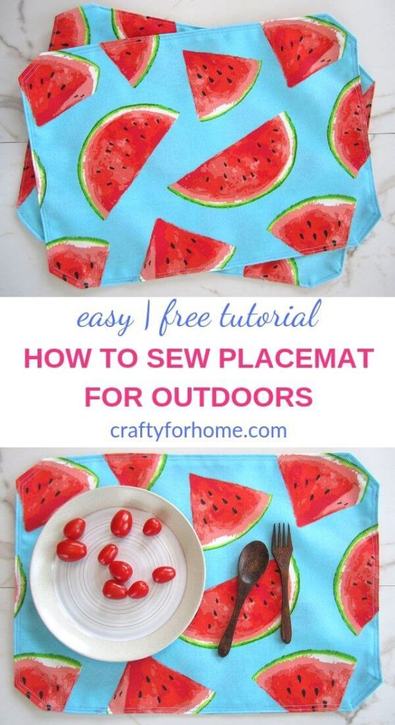 How To Sew Placemat For Outdoors | Sew these easy to make placemats for your next summer parties that are also durable for outdoor use. #sewingforsummer #DIYplacemats | Crafty For Home