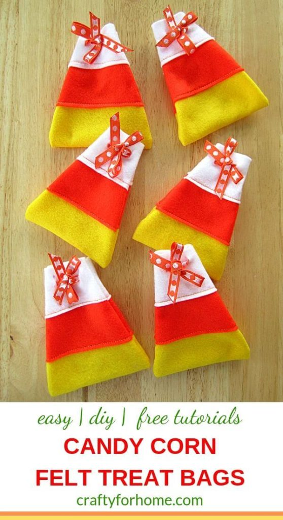 Candy Corn Felt Treat Bags