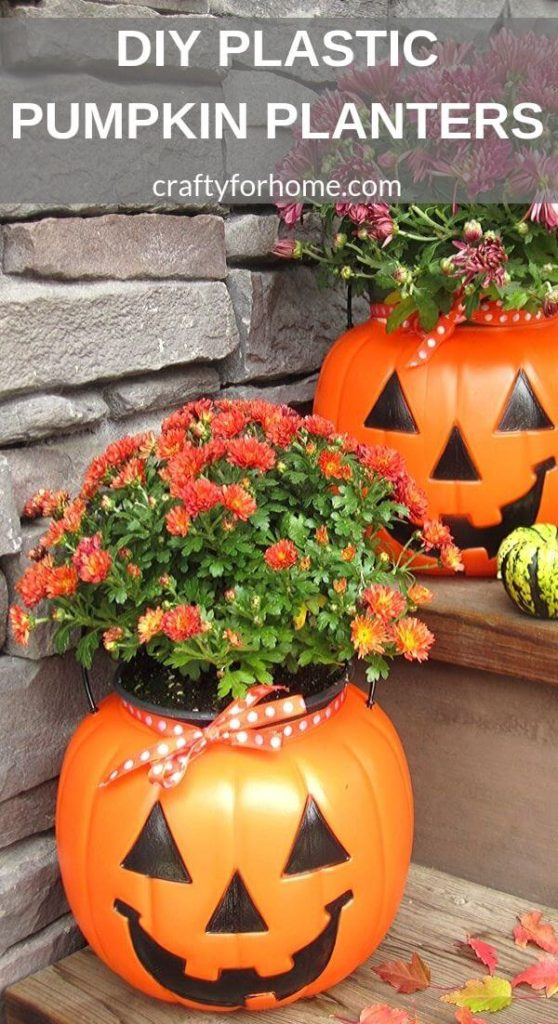 Plastic Pumpkin Fall Planter