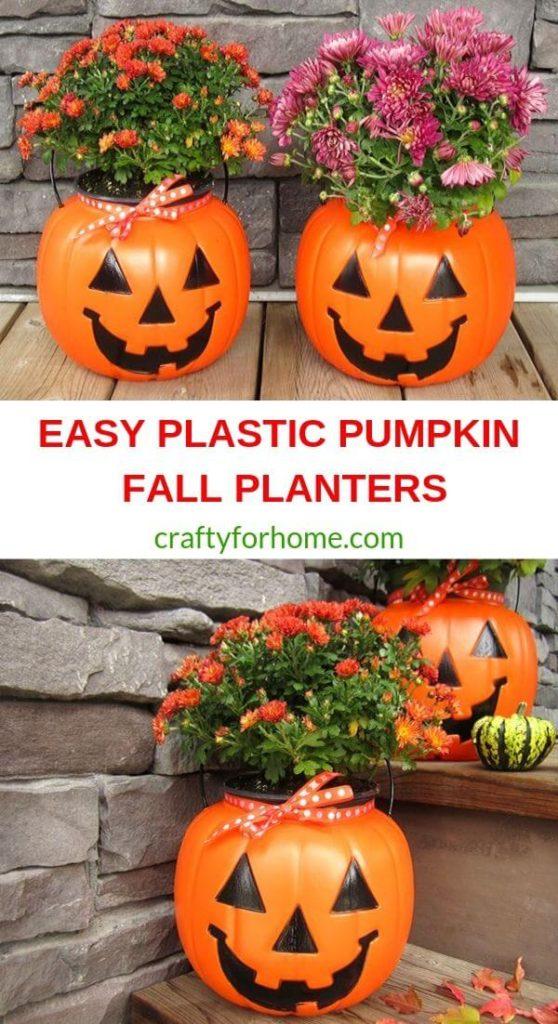 Plastic Pumpkin Fall Planters