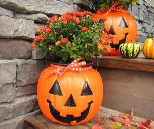 Plastic Pumpkins Fall Planters
