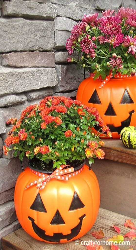 Pumpkin Planters With Mums