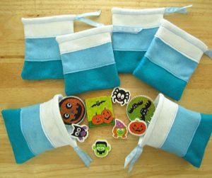 Teal Halloween Felt Treat Bags