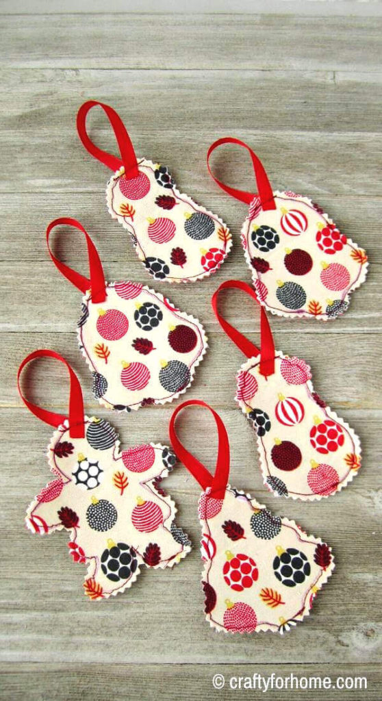 Fabric Ornaments With Ribbon