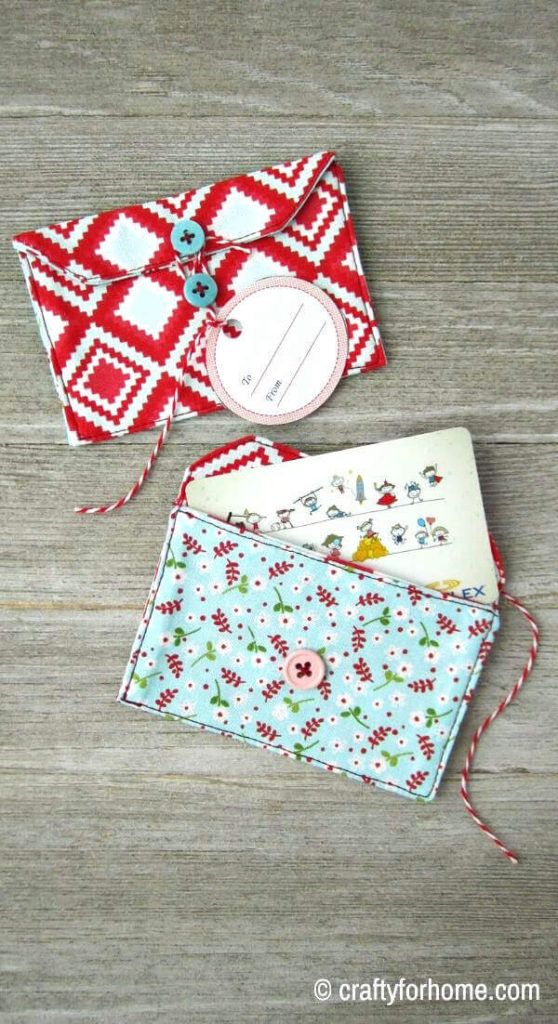 Red And Blue Fabric Gift Card Holder